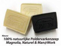 Poldervarkenzeep 100% natuurlijk. Blok van 80 gram handzeep. In 3 geuren verkrijgbaar. Kosten € 4,-